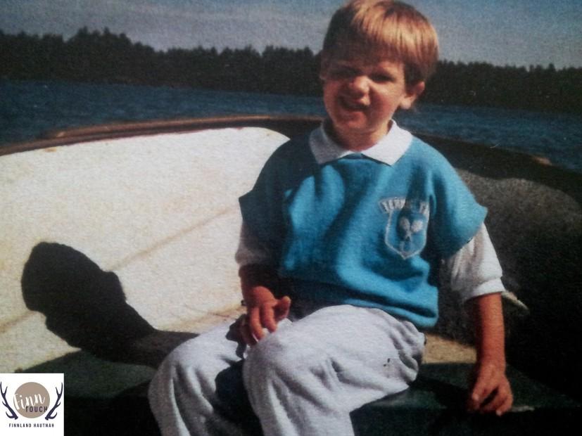 Als kleiner Junge auf dem Puula-See nahe Mikkeli