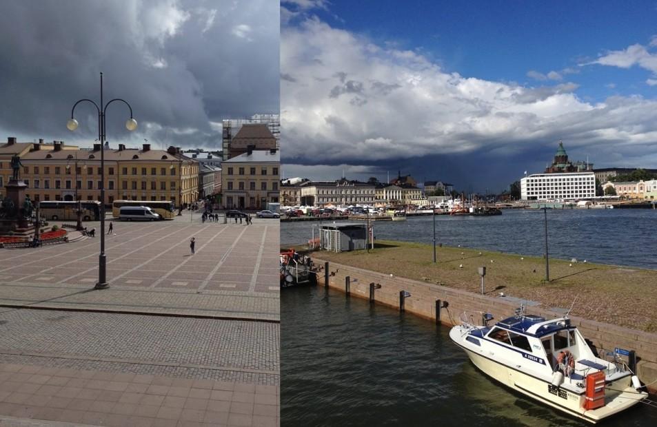 Dunkle Wolken ziehen auf über Senaatintori und Hafen.