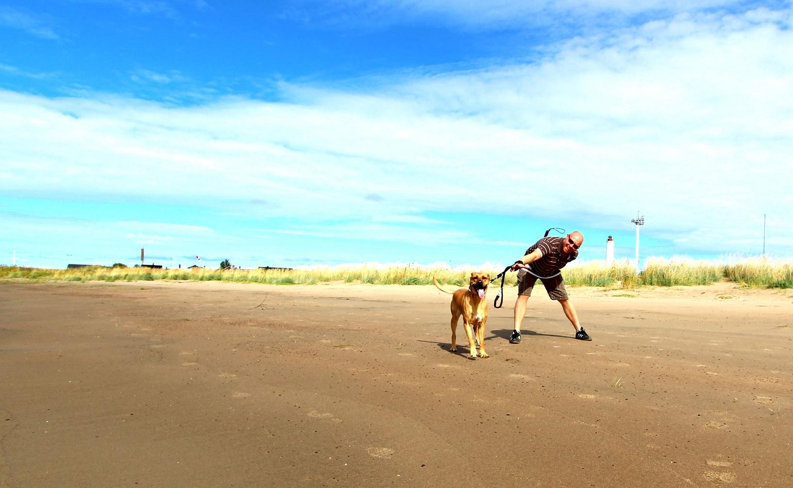 Stefan und Hündin Emily am Strand auf der Oulu vorgelagerten Insel Hailuoto.