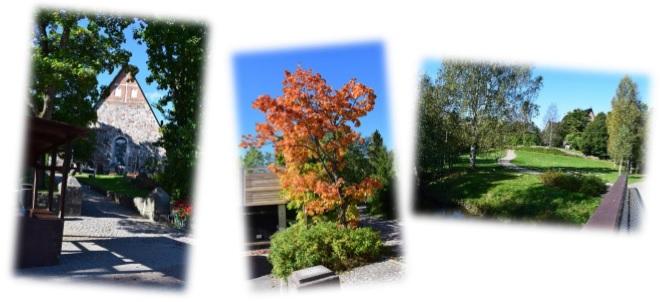 Der Dom von Espoo und wunderschöne herbstliche Farben in der Natur.