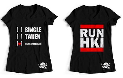 """Machen auch als Girlieshirts was her: Unsere neuen Designs """"Single, taken, in love with Finland"""" und """"RUN HKI"""""""