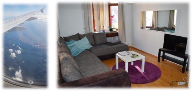 Hoch in der Luft - und angekommen im gemütlichen Apartment in Helsinki.