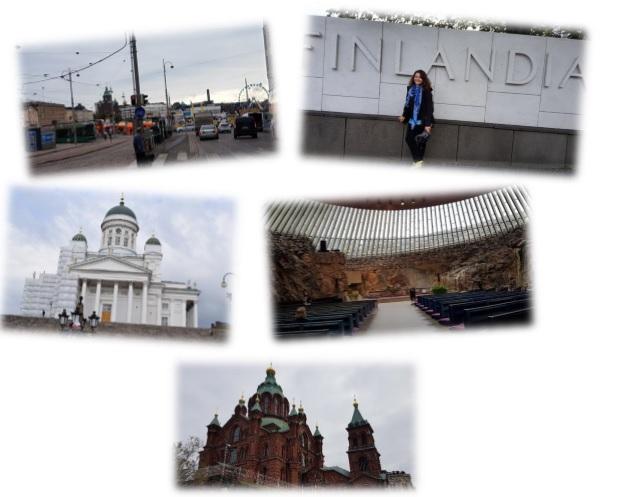 Sightseeing-Tour durch Helsinki - Marktplatz, Finlandia Halle, Dom, Temppeliaukio-Kirche und Uspenski-Kathedrale.
