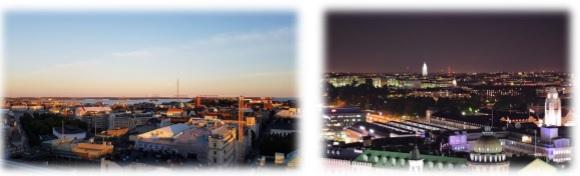 Wunderschöne Ausblicke auf Helsinki von der Ateljee Bar des Sokos Hotel Torni.