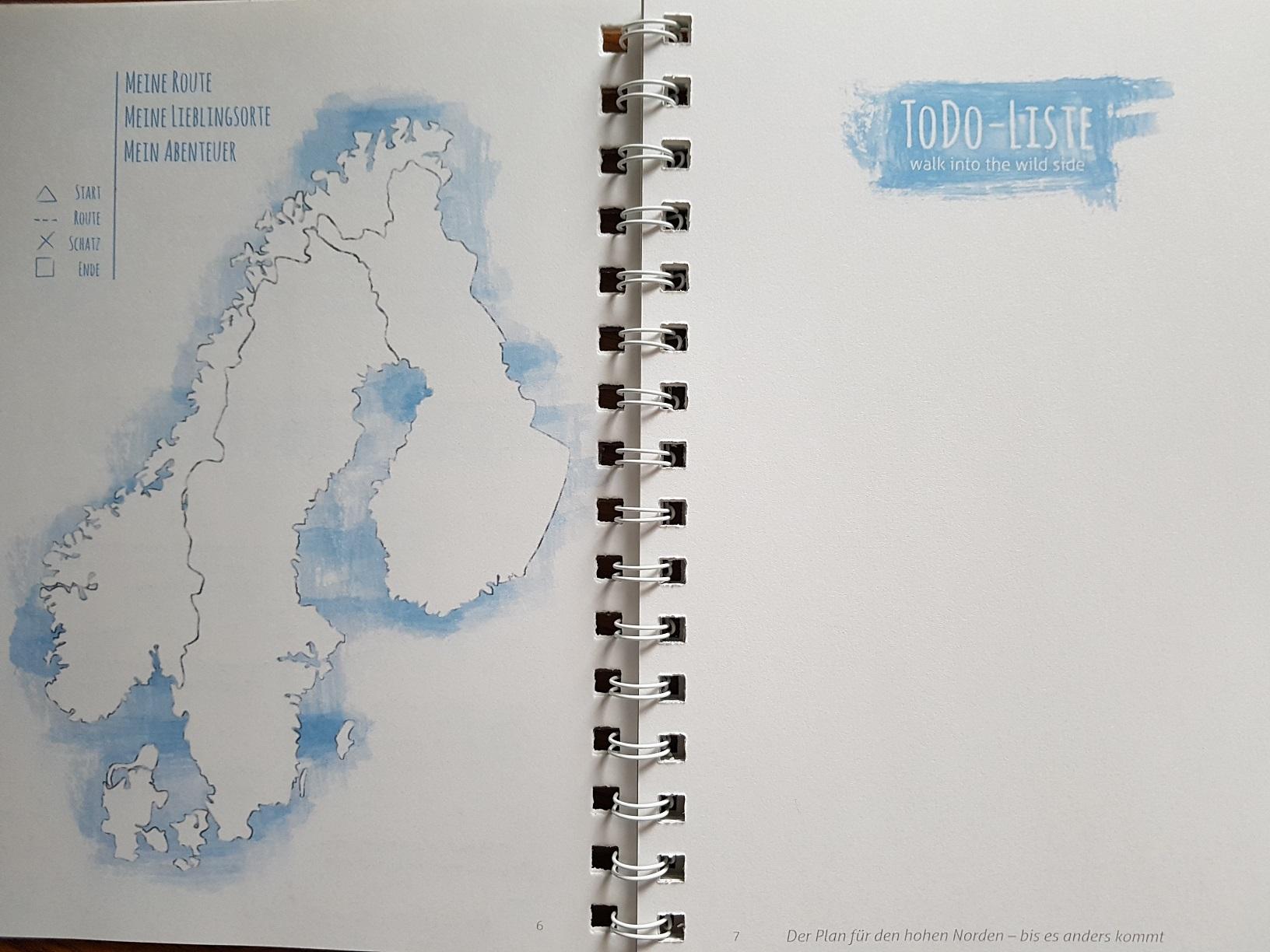 Karte im JourneyBook Skandinavien