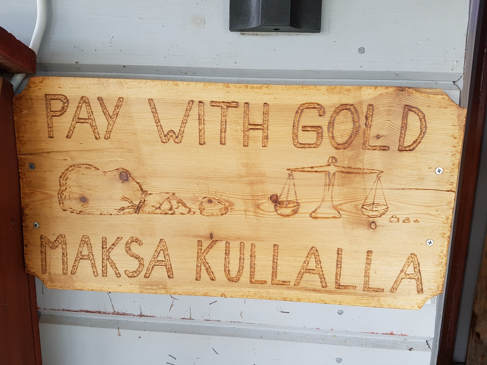 Schild Pay with Gold