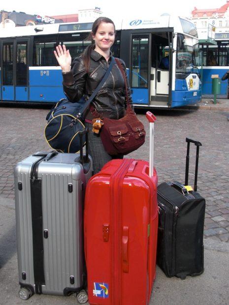Tanja mit ihrem Reisegepäck