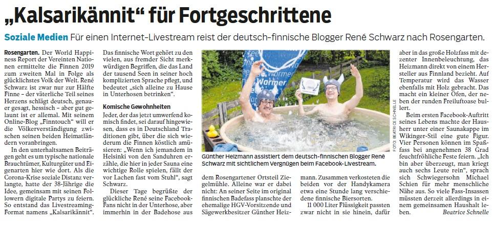 "Artikel im ""Haller Tagblatt"", Schwäbisch Hall (30.05.2020)"