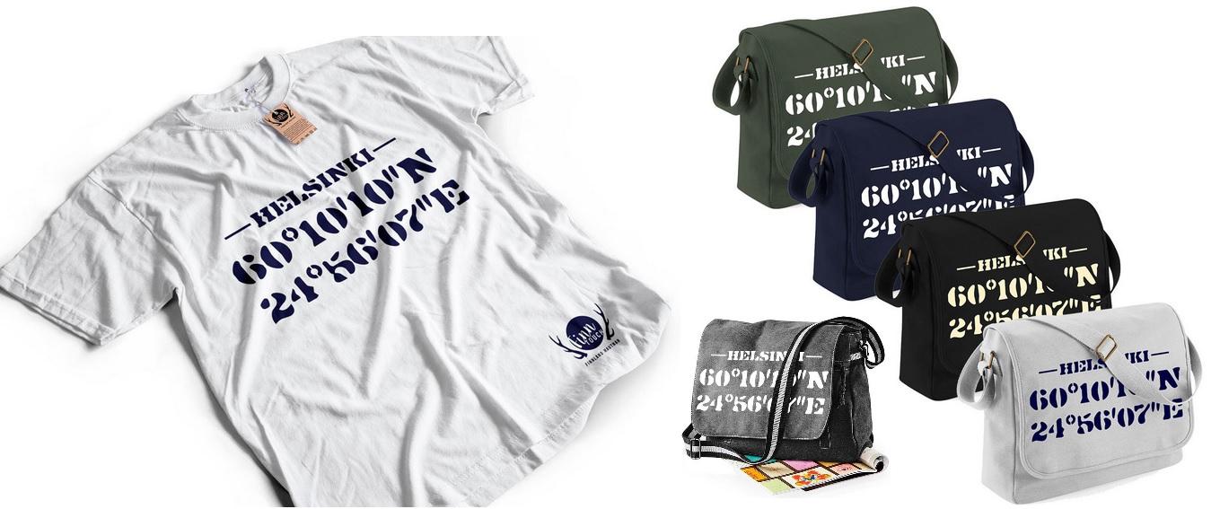 Finnland-Geschenkideen - Helsinki Shirt & Tasche GPS Koordinaten
