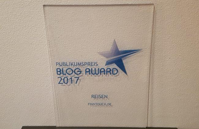 """Blog Award 2017 - FinnTouch gewinnt den Publikumspreis in der Kategorie """"Reisen"""""""