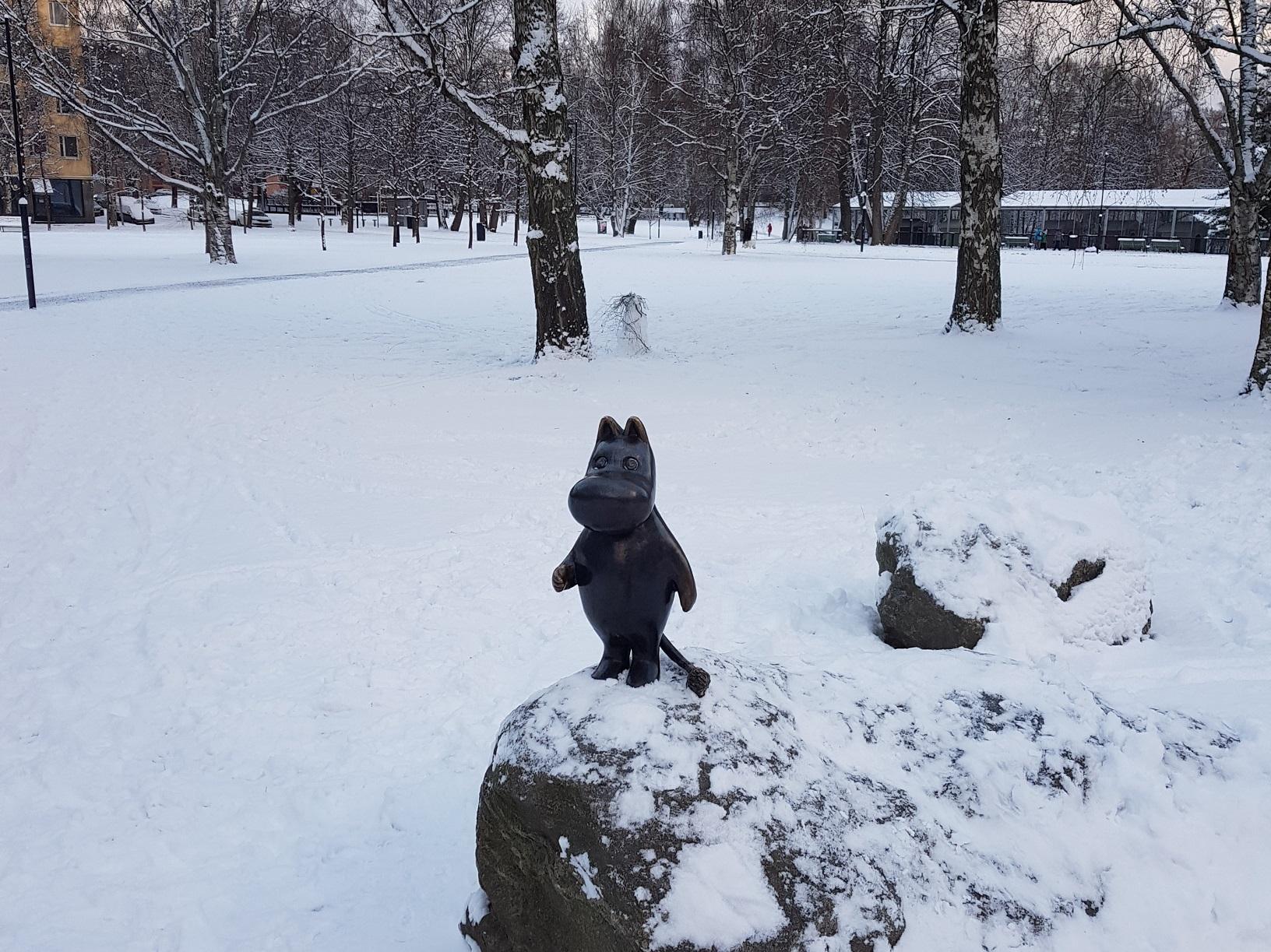 Mumin im Schnee in Tampere
