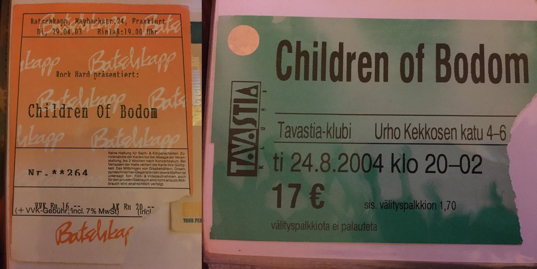 Eintrittskarte für Children of Bodom im Tavastia Club Helsinki
