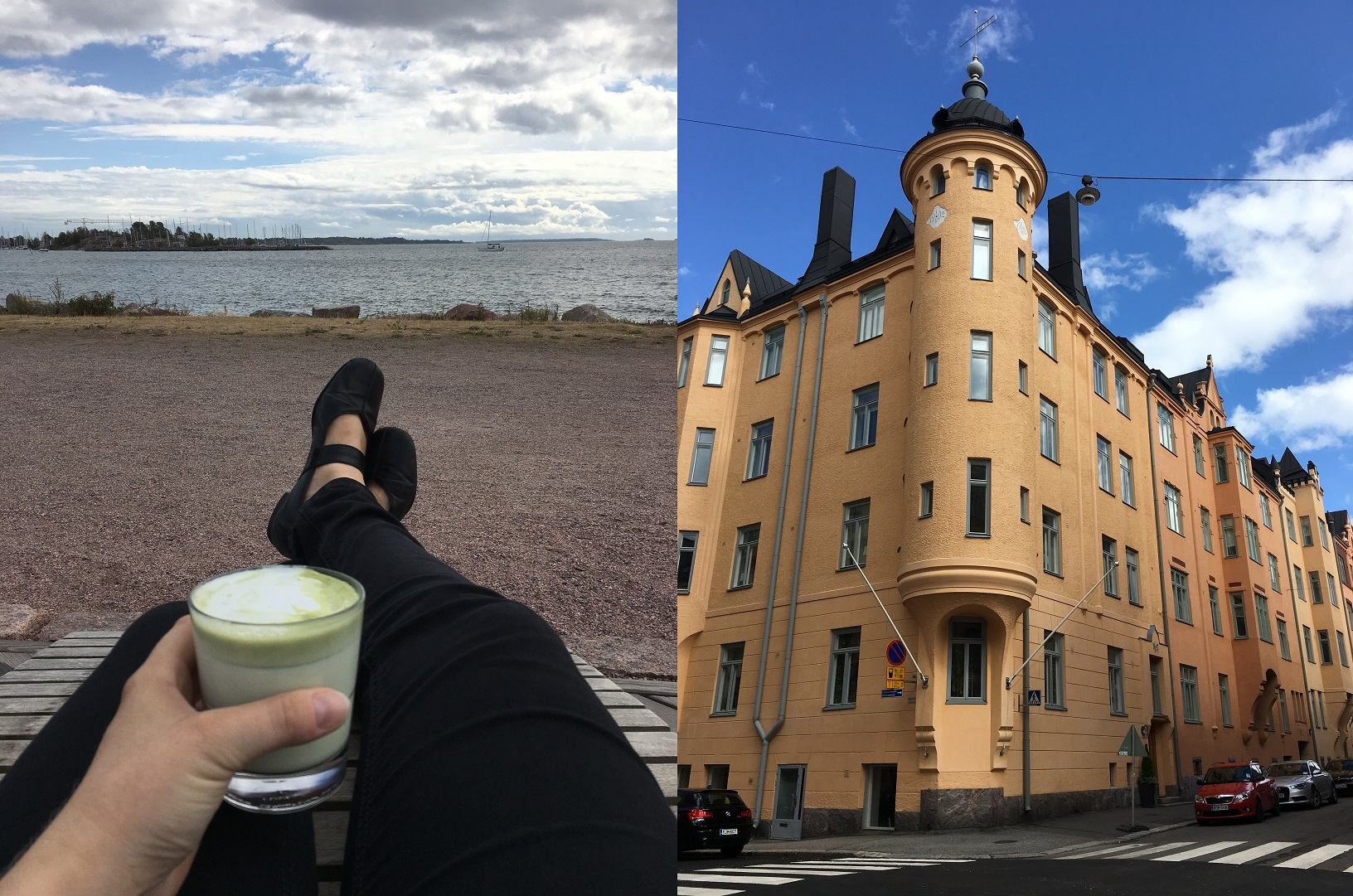 Cafe Birgitta, Hernesaari (links), Jugendstilarchitektur in Katajanokka (rechts)