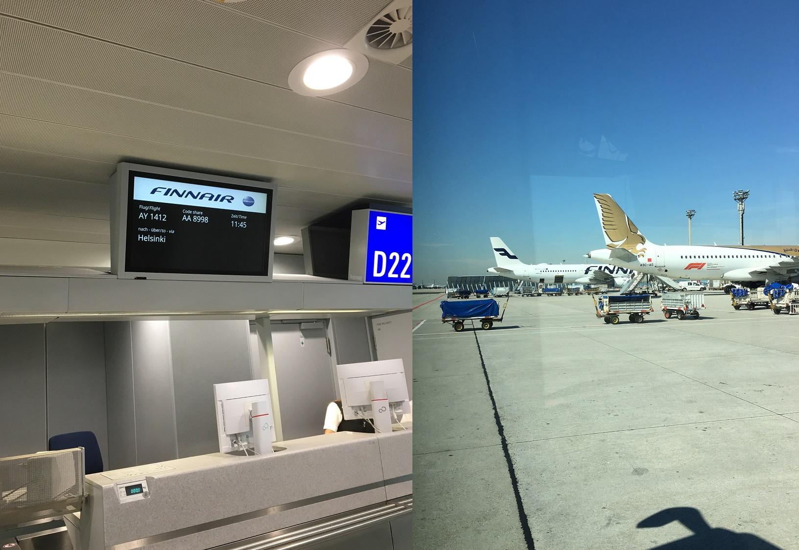 Abflug-Gate der Finnair / Finnair-Maschine auf dem Vorfeld
