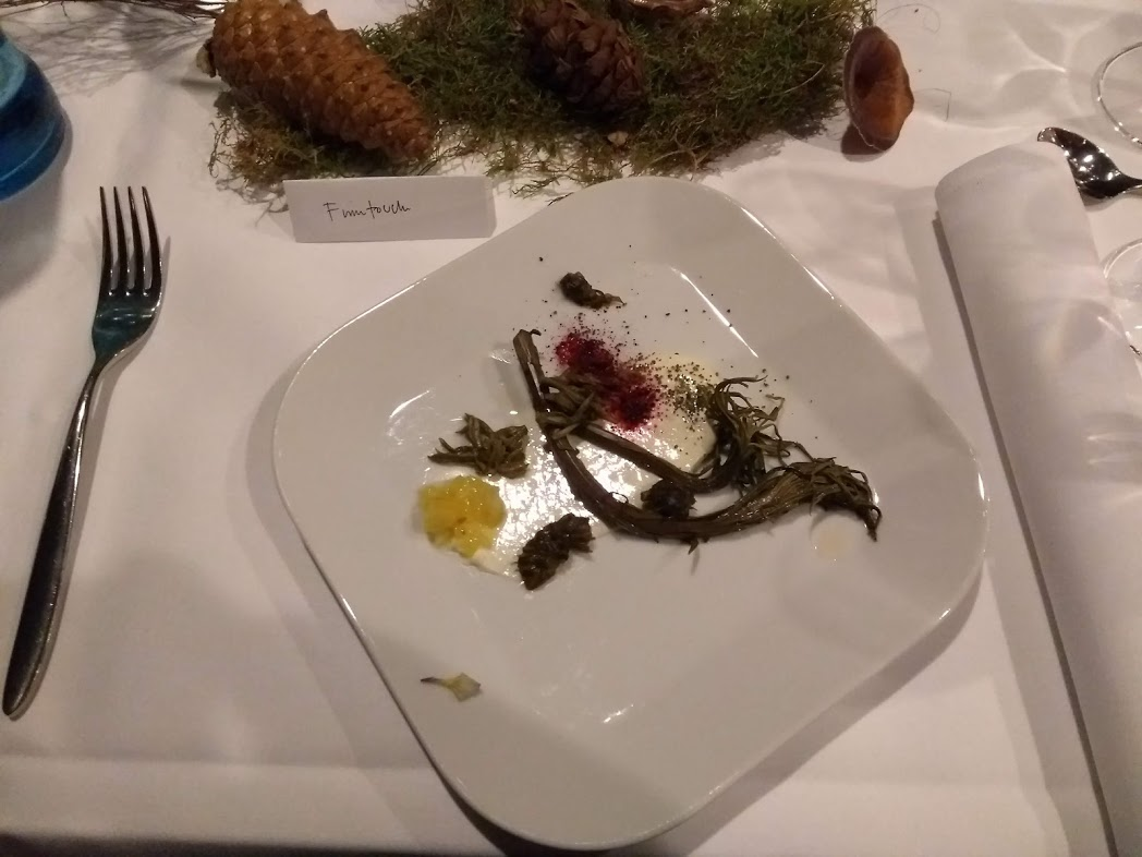 Metsänhenki Dinner - Fermentierte Waldpflanzen, Zitrone und Ziegenkäse