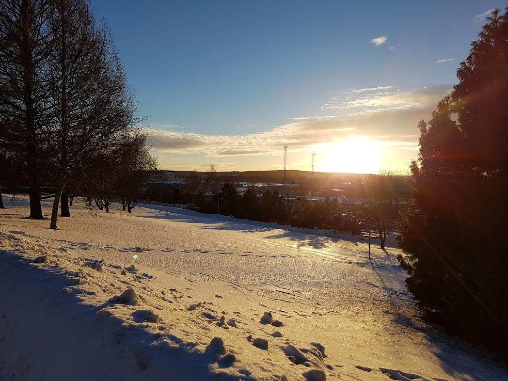 Sonnentag im finnischen Winter