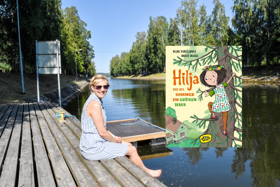 Autorin Heidi Viherjuuri am Kanal von Vääksy