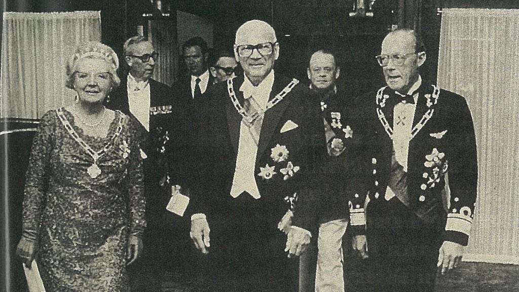 Finnlands Präsident Urho Kekkonen im Hilton Helsinki Kalastajatorppa