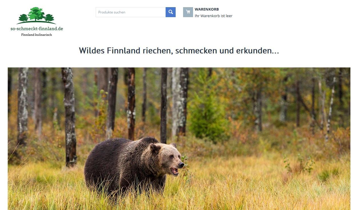 Startseite des Onlineshops so-schmeckt-finnland.de