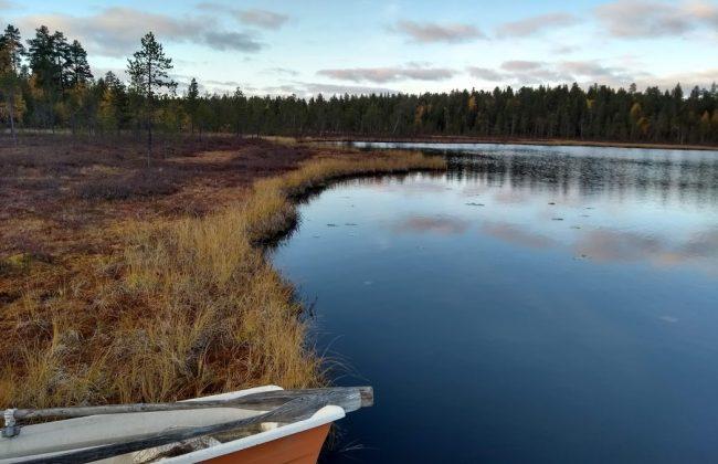 Lappland von seiner schönsten Seite an einem See in Ivalo