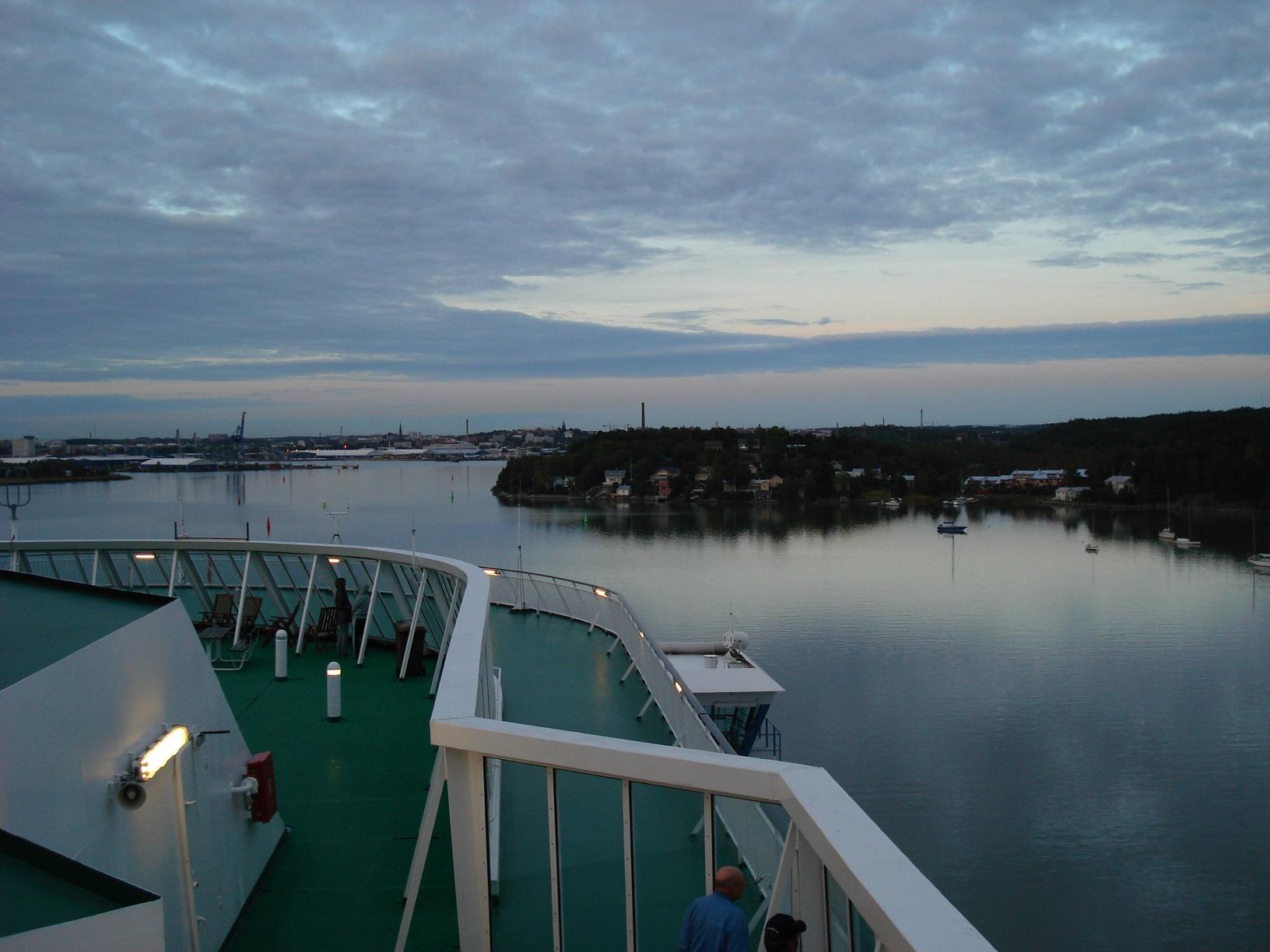 Blick auf den Hafen von Turku vom Schiff aus