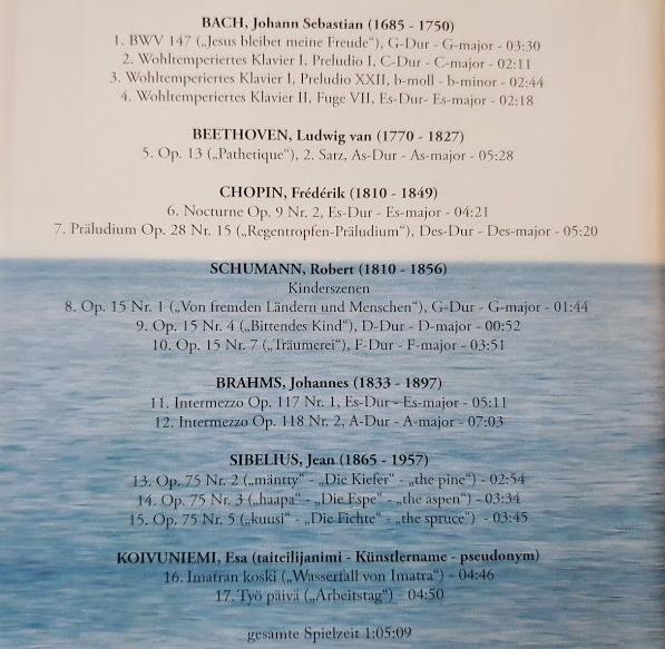 Tracklisting der CD von Eberhard Apffelstaedt - Ausgewählte Kostbarkeiten der Klaviermusik