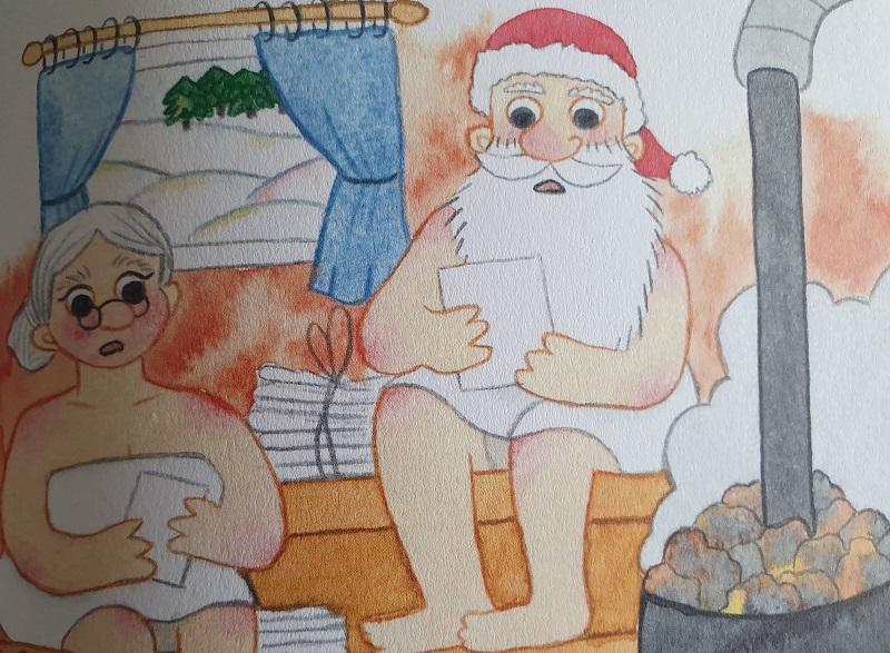 Weihnachtsmann und Frau in der Sauna