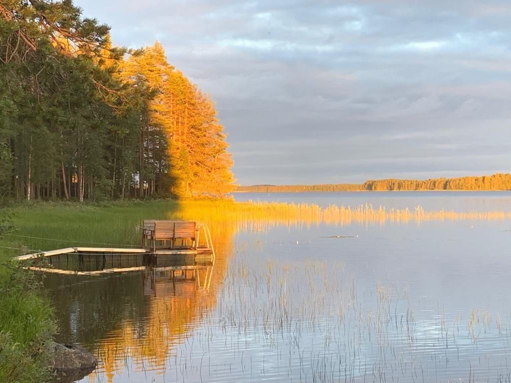 Schatten und Sonne an finnischem See