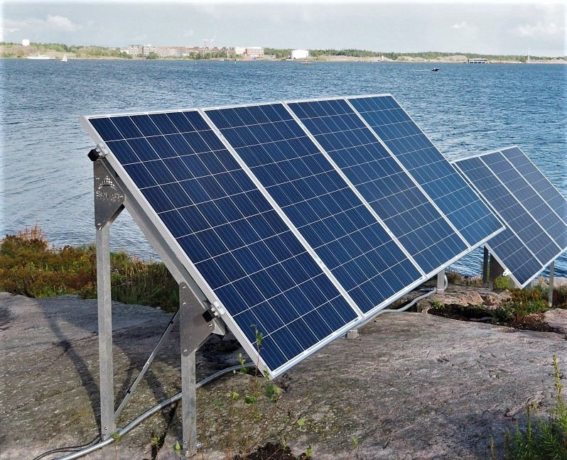 Sonnenkollektoren auf Katajanokanluoto