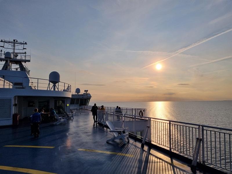 Sonnenuntergang an Bord der Finnlines Finnlady