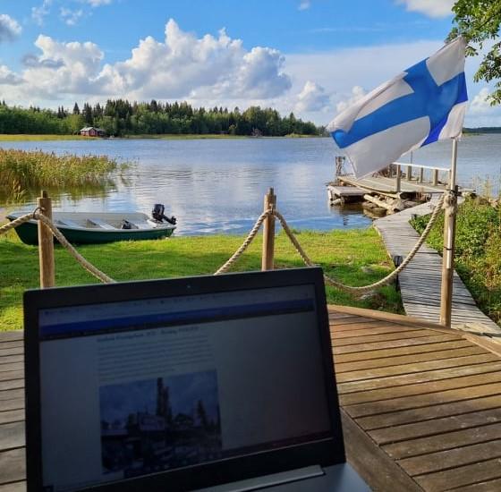 Outdoor-Office auf Majorsgrund Island