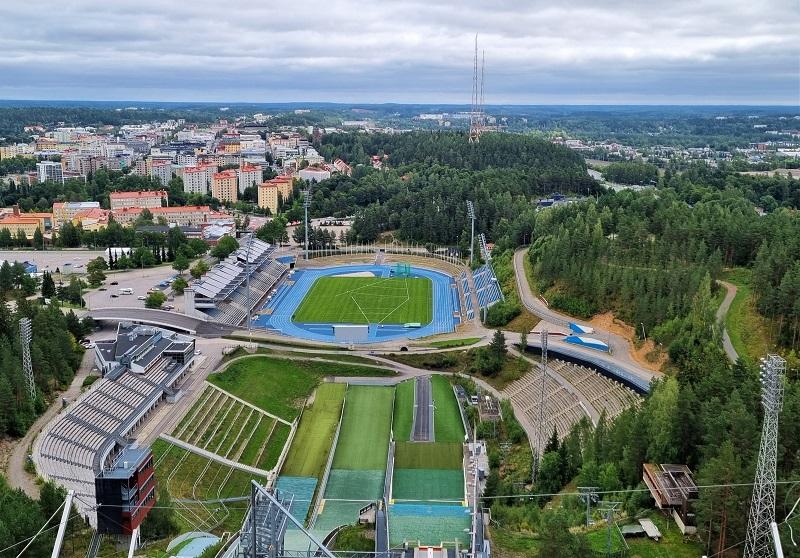 Ausblick von der Salpausselkä-Schanze in Lahti